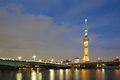 Tokyo sky tree is the world s tallest free standing broadcasting tower it was finally decided on m Stock Images