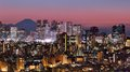 Tokyo skyline and fuji mountain of shinjuku japan with mt visible Stock Images