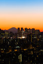 Tokyo skyline and mount fuji view of shinjuku at sunset Stock Image