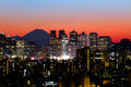 Tokyo skyline and mount fuji view of shinjuku at sunset Royalty Free Stock Photography