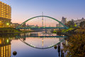 Tokyo skytree and colorful bridge in refection sumida river japan Royalty Free Stock Photos