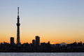 Tokyo skytree with mt fuji city view and sihouette skyline Stock Image