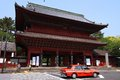 Tokyo taxi cab may rides past a temple on may in japan has almost cabs almost times the number of new york city Stock Photo