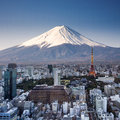 Tokyo top view sunset with Mount Fuji surreal photography. Royalty Free Stock Photo