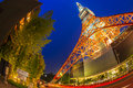 Tokyo tower at night july light up display on july in japan is a communications and observation located in Stock Image