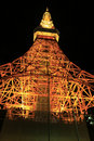 Tokyo tower night scene seen below Stock Photography