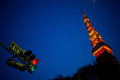 Tokyo Tower with traffic lights. Royalty Free Stock Photo