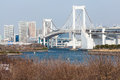 Tokyo view from odaiba with the rainbow bridge and tower Stock Photography