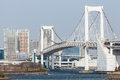 Tokyo view from odaiba with the rainbow bridge and tower Stock Images