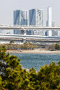 Tokyo view from odaiba with the rainbow bridge and tower Royalty Free Stock Photo