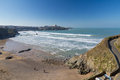 Tolcarne beach newquay cornwall overlooking england uk europe Stock Images