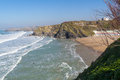 Tolcarne beach newquay cornwall overlooking england uk europe Stock Photo