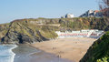 Tolcarne beach newquay cornwall overlooking england uk europe Stock Image