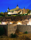 Toledo with alcazar from river in night old spain Stock Image