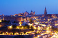 Toledo with cathedral in night spain view of Stock Photo
