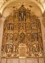 Toledo polychrome main altar of san roman church has a steeple built in the mudejar architectural style in the th cent on march in Royalty Free Stock Photos