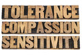 Tolerance compassion sensitivity words a collage of isolated text in letterpress wood type printing blocks Royalty Free Stock Images