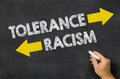 Tolerance or racism written on a blackboard Royalty Free Stock Photos