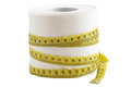 Tolet paper with tailor s tape diet fitness and weight loss concept Royalty Free Stock Image
