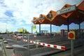 Toll gates on motorway near barcelona city spain europe Royalty Free Stock Photos