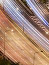 Tollway traffic in the night curve of movement at shot birds eye view Stock Image