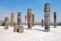 Toltec sculptures in tula warrior mexico Royalty Free Stock Photography