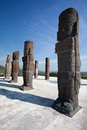 Toltec warriors. Ancient ruins of Tula de Allende Royalty Free Stock Photos