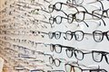 Tom Ford branded eyeglasses in an optician retail shop in Poland. Royalty Free Stock Photo