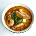 Tom yum goong asian thai food menu spicy soup with shrimps Stock Photos