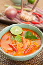 Tom yum goong thai cuisine prawn soup with lemongrass and lemon grass mushroom or is the most famous of all soups the both spicy Royalty Free Stock Photo