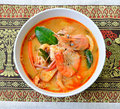 Tom yum goong thai hot and spicy soup seafood with shrimp thai cuisine Royalty Free Stock Images