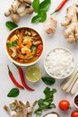 Tom Yum Goong or Tom Yam Kung and set of ingredients Royalty Free Stock Photo