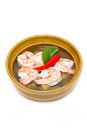 Tom yum kung the famous traditional of thai food on white Royalty Free Stock Photography