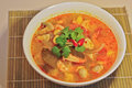 Tom Yum Kung - Hot Spicy Sour Thai herbal soup with prawn Royalty Free Stock Photo