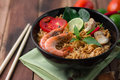 Tom yum kung with noodles is popular thai dish cuisine Royalty Free Stock Photo