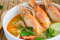 Tom yum kung yam or yam is a spicy clear soup typical in thailand and no thai dish cuisine Royalty Free Stock Photo