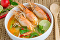 Tom yum kung yam or yam is a spicy clear soup typical in thailand and no thai dish cuisine Royalty Free Stock Images
