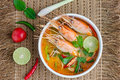 Tom yum kung yam or yam is a spicy clear soup typical in thailand and no thai dish cuisine Royalty Free Stock Photography