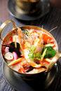 Tom Yum soup, Thai traditional spicy prawn soup Stock Image