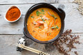 Tom yum soup traditional thai spicy in a bowl Stock Image