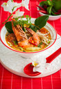 Tom yum soup traditional thai spicy with shrimp Royalty Free Stock Images