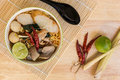 Thai Food : Tom Yum Soup Noodle Background Royalty Free Stock Photo