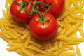 Tomates et penne Photos stock
