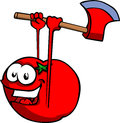 Tomato with an axe cartoon style illustrated vector format is available Stock Photos