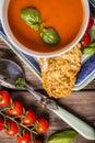 Tomato basil soup close-up Royalty Free Stock Photo