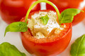 Tomato basket with mozarella Royalty Free Stock Photo