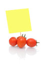 Tomato with blank Note paper Stock Photos