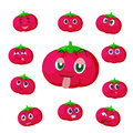 Tomato cartoon with many expressions Stock Photo