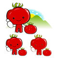 Tomato characters to promote vegetable selling vegetable charac character design series Stock Image