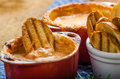Tomato and cheese dip baked with crispy garlic toast Royalty Free Stock Photo